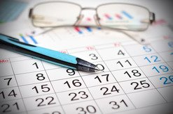 Calendar, Pen, and Glasses